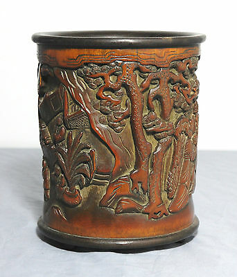 Nice Carved Chinese Bamboo Brush Pot