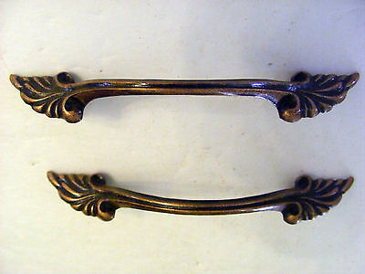 Lot of 2 Antique Brass Acanthus Leaf Dresser Pulls Age Copper - H0133