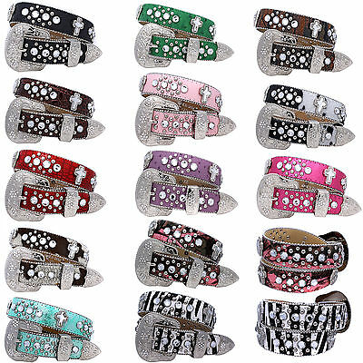 371_Girls Western Rhinestone Childrens Western Kids Bling Belts Girls Belts
