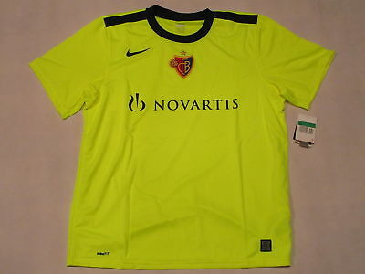 Nike FC BASEL Trikot Jersey Camiseta Maglia Maillot T-Shirt NEON Gelb 09/10  XL