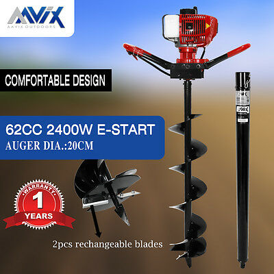 AAVIX New 62cc Petrol Post Hole Digger 100cm Depth Earth Auger Drill Fence Borer