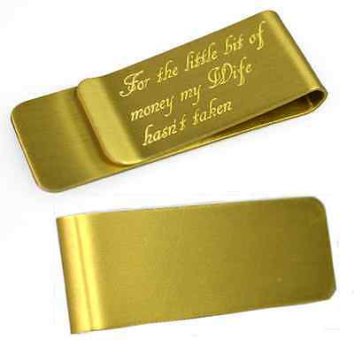 Personalised Engraved Gold Money Clip Birthday Mother's Gift Wallet Card Holder