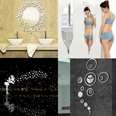 Creative 3D Acrylic Mirror DIY Wall Decal Mural Decor Vinyl Art Stickers
