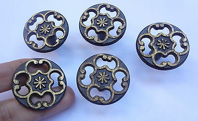 Lot 5 Vintage Brass Pull handles Knobs 1 1/2'' # Free Shipping
