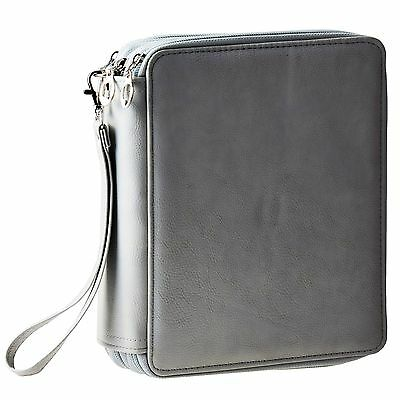 120 Slots Multi-layer PU Leather Pencil Holder Grey