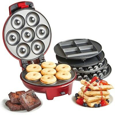 New 3 in 1 Snack Maker Non-Stick Waffle Iron Brownie & Mini Doughnut Sweet
