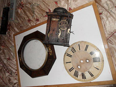 antique clock with wooden plates  movement