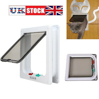 4 Way Locking Door Magnetic Cat Dog Mate Flap lockable Stay well Pet Safe Fast