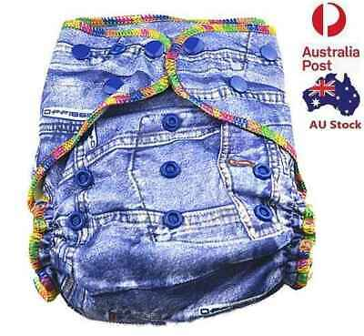 Denim Baby Boyish Cloth Nappy Top Quality Modern Cloth Nappies With Free Liners