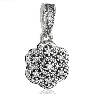 ICE FLORAL Pendant Charm 925 Solid Sterling Silver Clear Pave Flower Bead Dangle