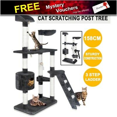 Cat Scratching Post Tree Multi Level w/ Ladder House Scratcher Pole Furniture