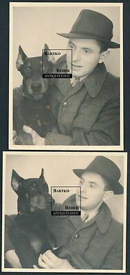 2 Fotos ca. 1955 Portrait Mann mit Dobermann Hund Doberman Dog