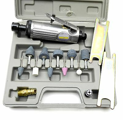 "1/4"" Air Die Grinder Tool Kit 15pc Inline Grinder Stone Set"