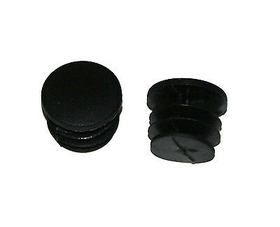 2 x D2O Bar End Plugs - Bike Handlebar Plastic End Caps - Black