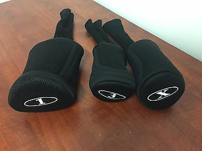 Deluxe black wood head cover set - wood covers - 3 pieces