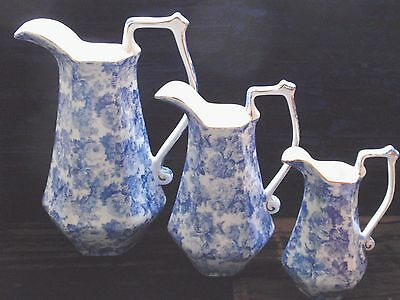 3 Graduated China Blue & White Jugs Rose Pattern Antique Victorian Style