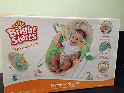 Bright Starts Patchwork Zoo Bouncer with Vibration