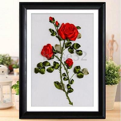Ribbon Embroidery Kit Red Rose Flowers Needlework Craft Kit DIY Room Decoration