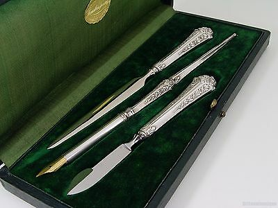 LOVELY FRENCH SILVER LAUREL LEAVES BERRIES & RIBBONS WRITING SET w/ CASE
