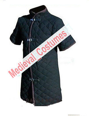 Thick Black Color Viking Gambeson Medieval Padded Collar Short Sleeves Armor