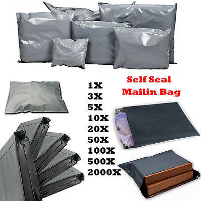 New Strong Poly Mailing Postage Bags Quality Self Seal Grey Plastic Mailers Lot