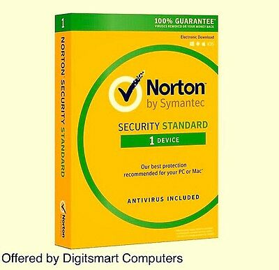 Norton Internet Security (Standard) Latest 2016 2017 - 1 Device - 1 Year License
