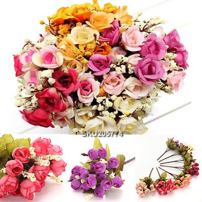 15 Head Artificial Fake Silk Rose Flower Bouquet Home Wedding Party Floral Decor