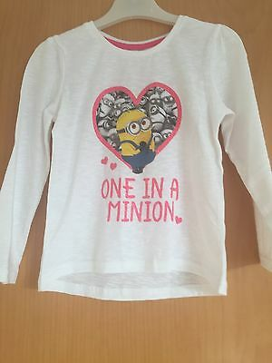 """Girls Long Sleeve T Shirt,  Despicable Me Minions, """"One in a Minion"""" BNWT,"""