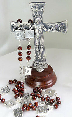 Standing Metal Crucifix with Stations of The Cross Rosary