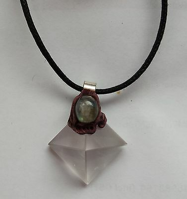 Clear quartz crystal pyramid (base 19mm square) with moonstone Pendant