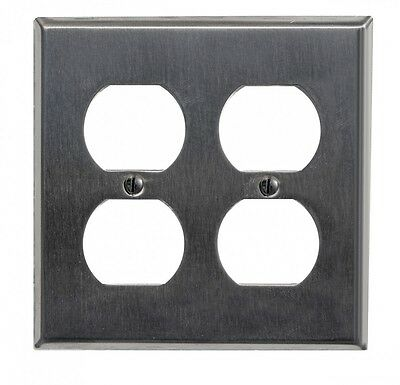 Switchplate Brushed Stainless Steel Double Outlet | Renovators Supply