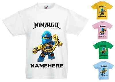 Childrens Kids Personalised Printed T-Shirt - Lego Ninjago Blue Ninja Jay