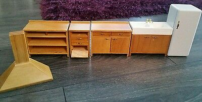 Vintage Dolls House Small Scale Kitchen Furniture Sink Cupboards fridge And More