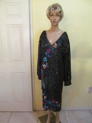 Vintage Beaded Sequined Silk Gown Exclusive by Jainson's International Size M