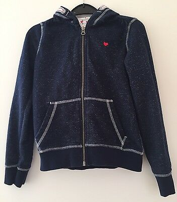 Girls Tu Navy Blue & Metalised Thread Hoodie Age 9 VGC!
