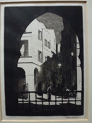 H Gordon Warlow Pencil Signed Etching ' Street of the Red Sea '.
