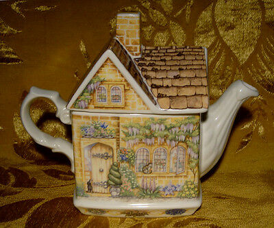 """JAMES SADLER *WYSTERIA LODGE* TEAPOT from """"COUNTRY COTTAGES"""" SERIES ENGLAND"""