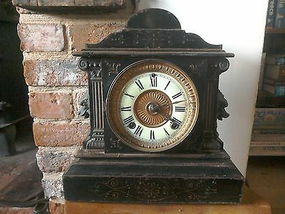 Antique American Cast Iron Ansonia Mantle Clock. New York.