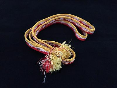 Vintage authentic Japanese obijime cord for kimono, yellow red and white (B615)