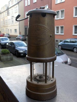 British Cool Mining Comp. Wales U.K. Bergbau Lampe  massiv Messing