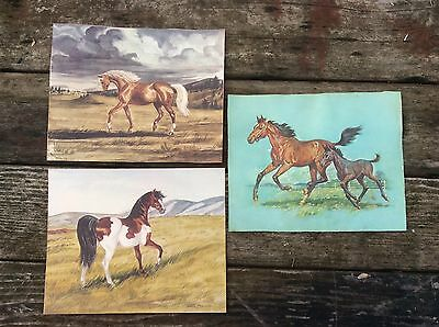 Vintage Horse Prints Lot of 3 Lithograph's 2 are Jeanne Mellin