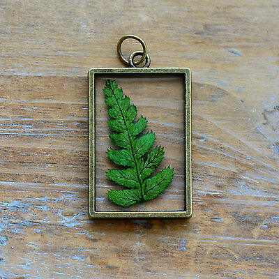 Double Sided Glass Nature Pendant - Preserved Fern Leaf  - Vintage Style Charm