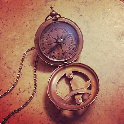 TOP SELLER: Vintage Style Sundial Compass Necklace Nautical Antique Brass, Glass