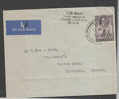 Nigeria, 1936 Lagos- London , First Dispatch Mail Cover