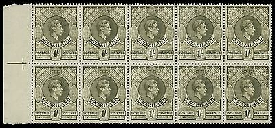 Swaziland SG 35a 1943 1/- Perf 13x13 MNH/Unmounted KGVI Positional block of 10