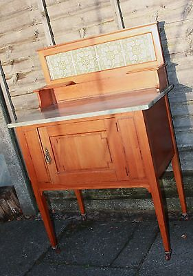 Art Nouveau / Edwardian Satinwood & Inlaid Marble Top Wash Stand Original Tiles
