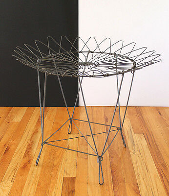 Vintage 1960's American Industrial Style Bent Steel Wire Collapsible Table RARE!