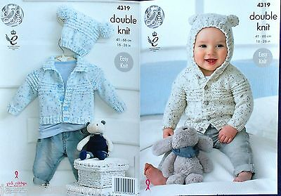 Babies Childs Double Knit Easy Cardigan Jacket Hat Knitting Pattern 16 - 26 Inch