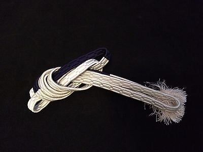 Vintage authentic Japanese obijime cord for kimono, white & blue, silk (B620)