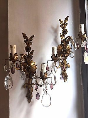 Pair Of Vintage  Sconces Murano Glass Flowers